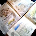 Periódico El Día de Córdoba, reportaje a doble página con dibujos de patios de Córdoba, con motivo de la declaración de la fiesta de los patios como patrimonio intangible de la humanidad